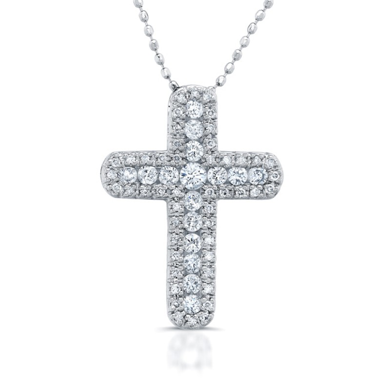 14k White Gold Pave and Channel Diamond Cross Pendant