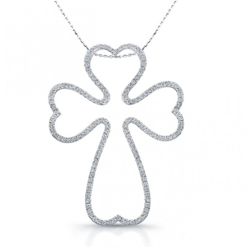 14k White Gold Diamond Cross Heart Edge Pendant
