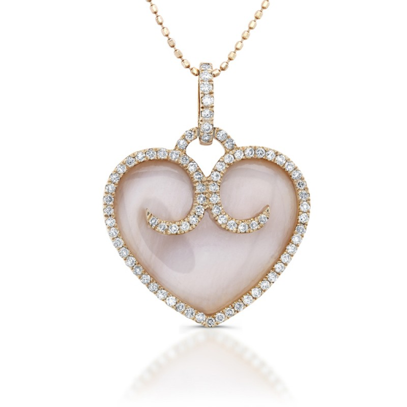 14k Rose Gold Mother of Pearl Heart Pendant