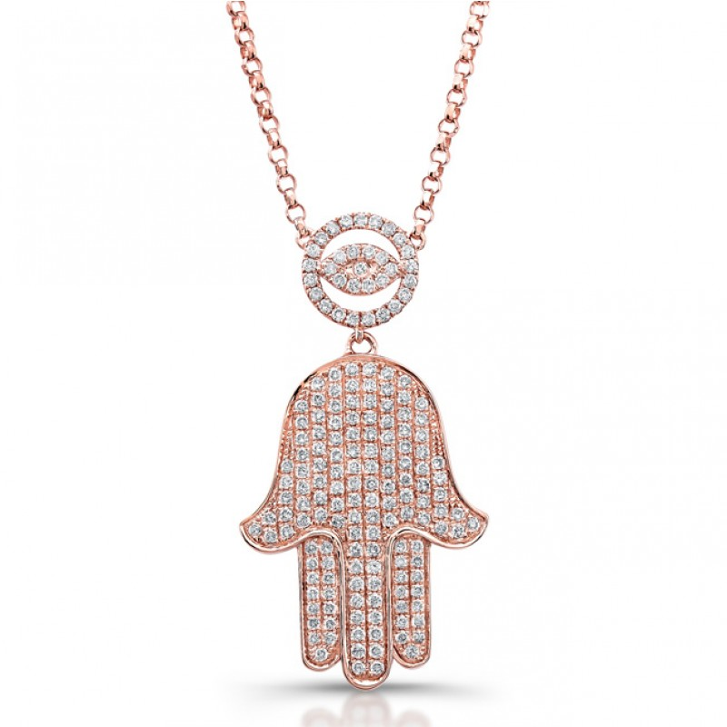 14k Rose Gold Micro Pave Diamond Evil Eye and Hamsa Necklace