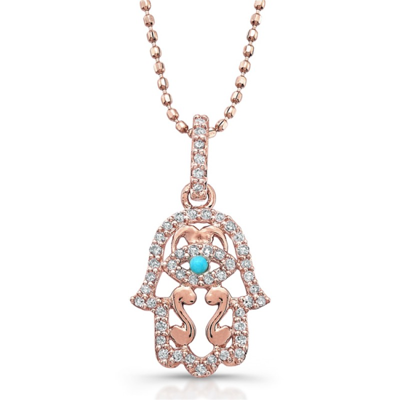 14k Rose Gold Diamond and Turquoise Hamsa Pendant