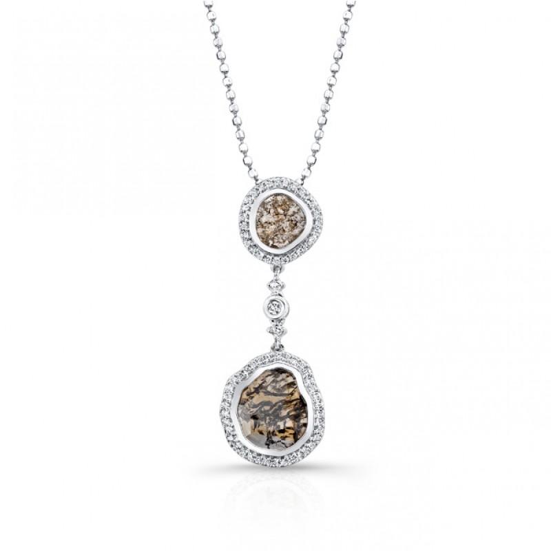 18k White Gold Diamond Sliver and White Diamond Pendant