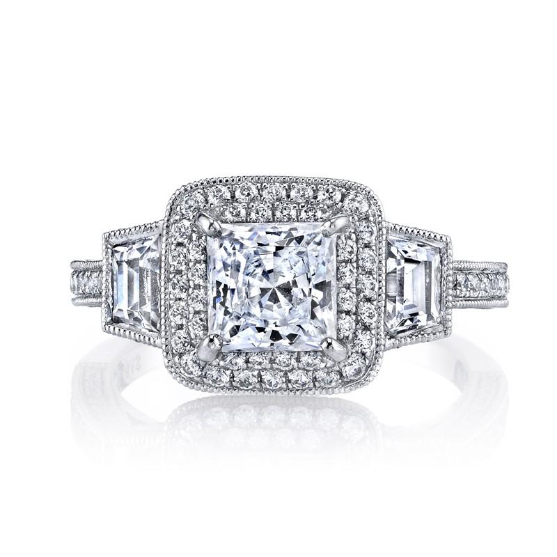 MARS 25229  Diamond Engagement Ring 0.76 Ct Rd,  0.51 Ct Trp.