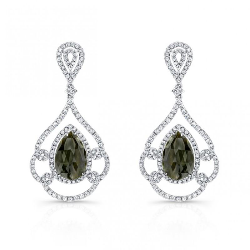 b08560b43 14k White Gold Rose-Cut Black and White Diamond Earrings