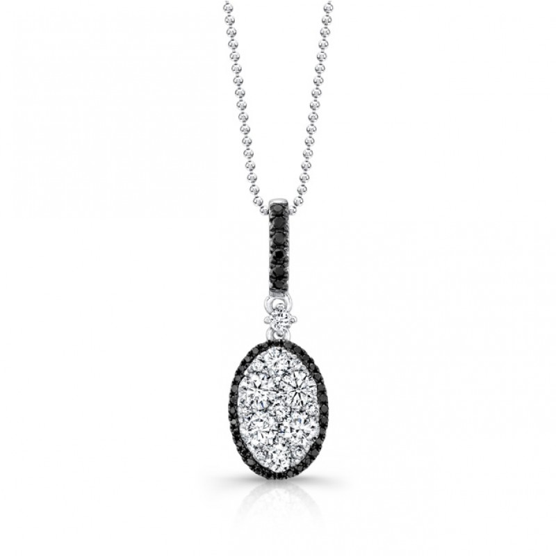 18k White and Black Gold White and Black Diamond Oval Pendant