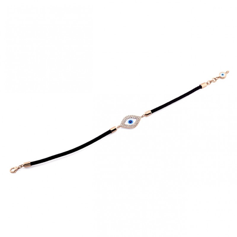 14k Rose Gold Diamond Enamel Evil Eye Leather Bracelet