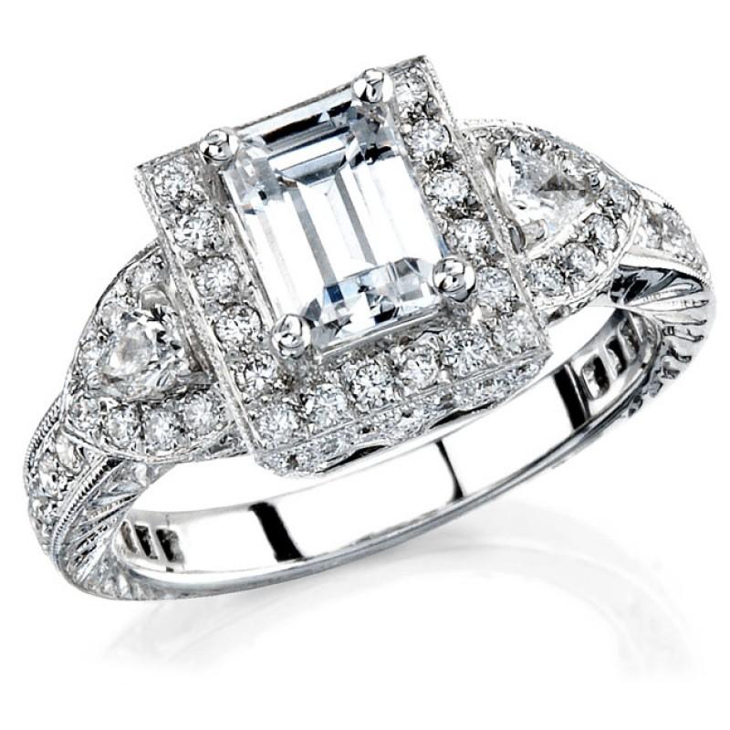 14k White Gold Vintage Halo Diamond Engagement Semi Mount Ring NK11184-W