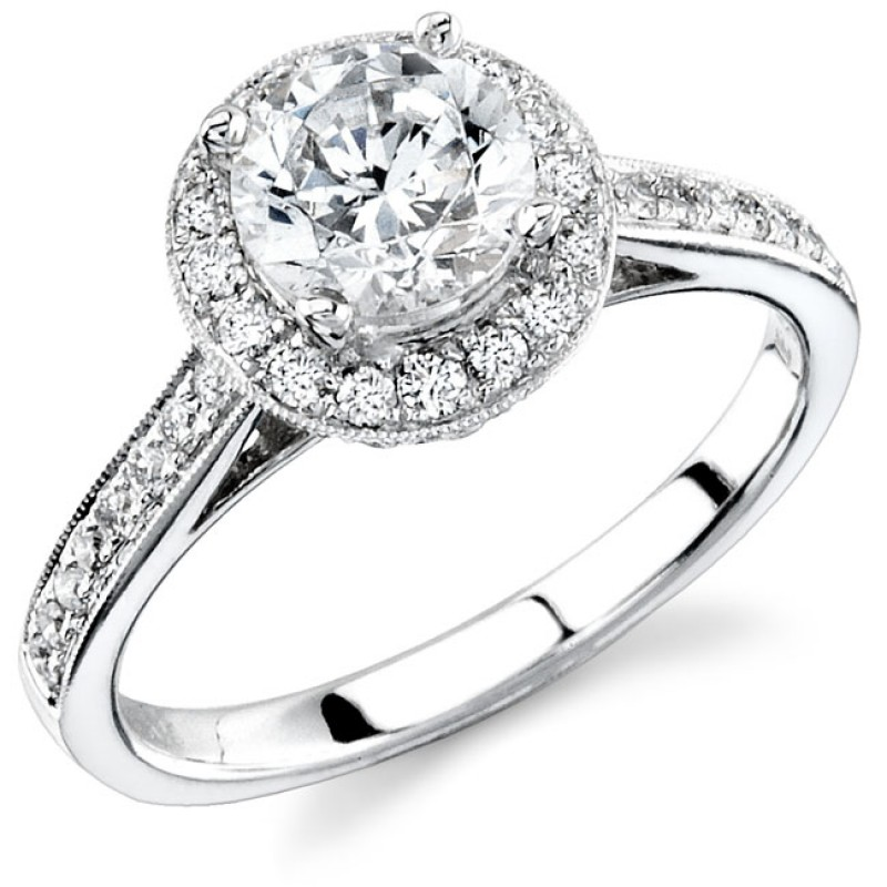 14k White Gold Pave Diamond Halo Semi Mount Engagement Ring NK11515-W