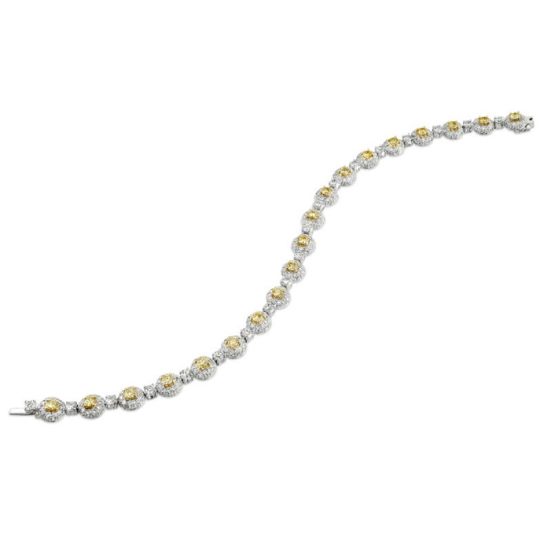 18k White and Yellow Gold Golden Round Diamond Bracelet - NK12115-WY