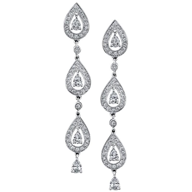 21e99237a 14k White Gold Pave Prong Droplet Diamond Earrings - NK13281-W