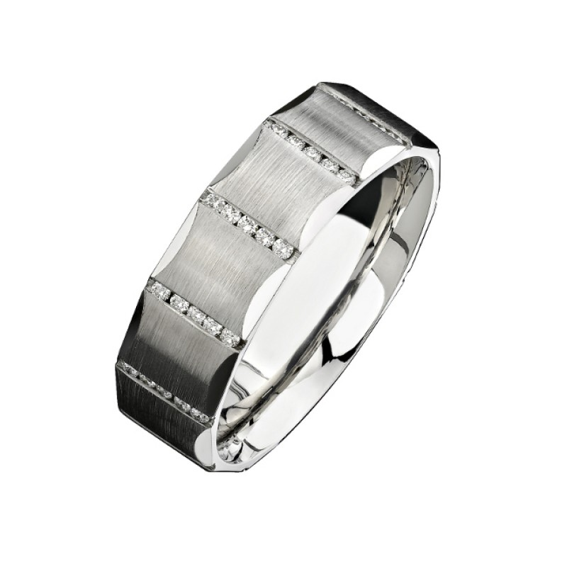 14k White Gold Channel Round Diamond Men's Band - NK13851-W