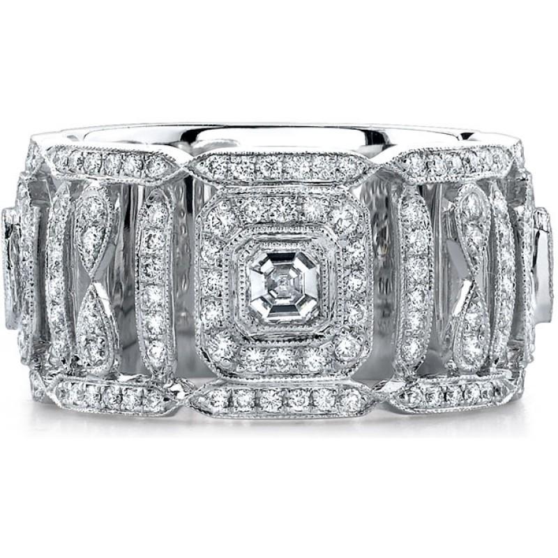 14k White Gold Pave Bezel Asscher Diamond Fashion Ring - NK15039W