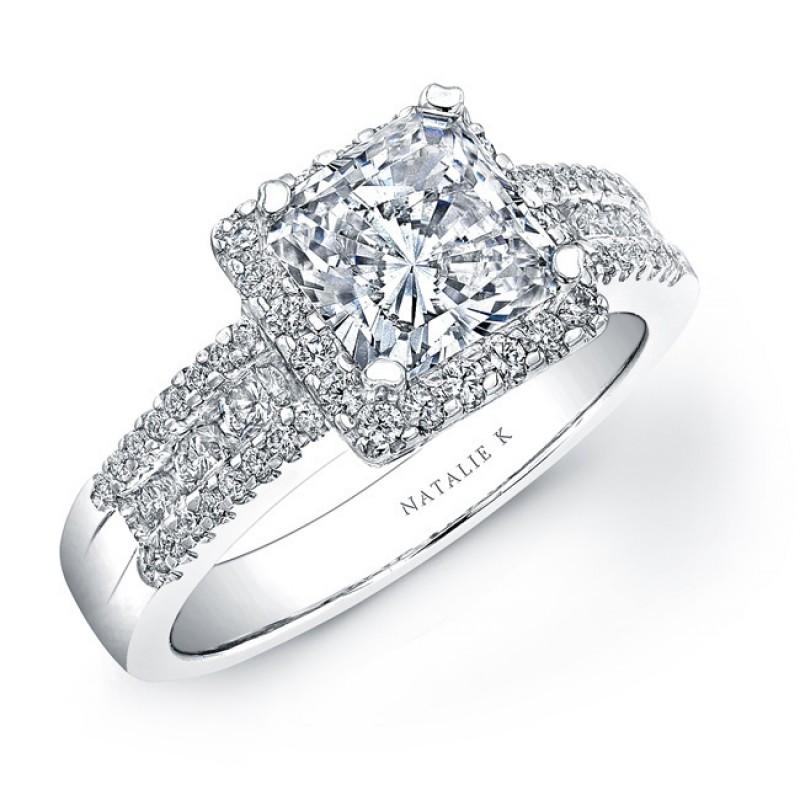 14k White Gold Square Halo Diamond Engagement Semi Mount Ring NK15277-W
