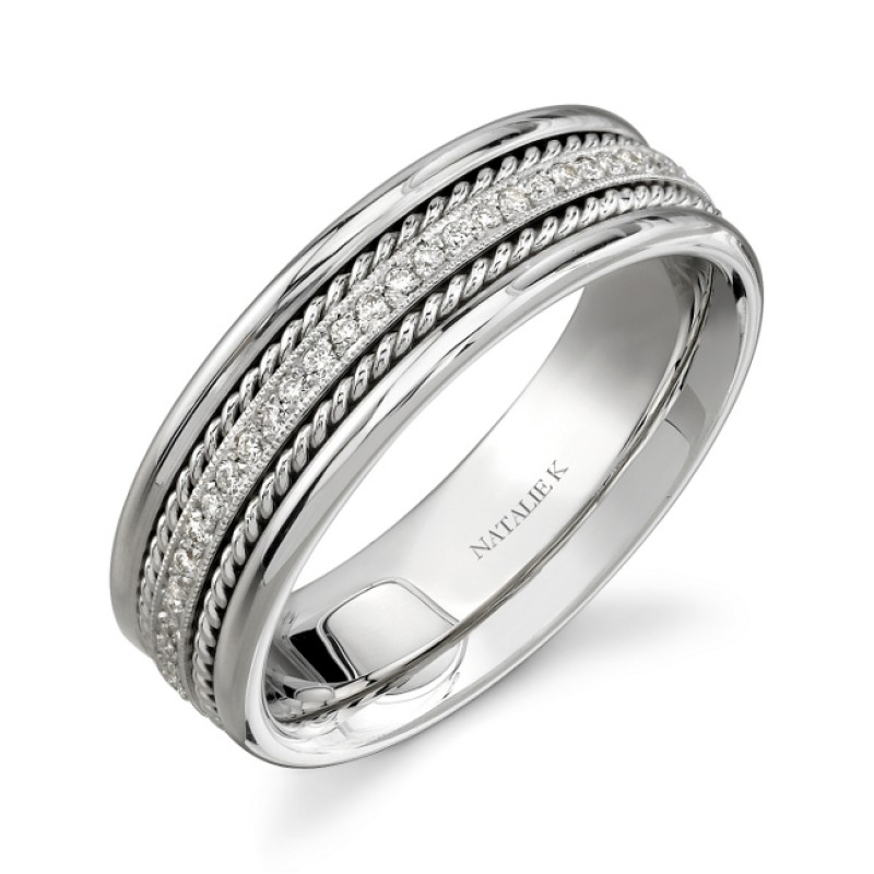 14k White Gold Rope Detail Pave Diamond Men's Band - NK15469-W