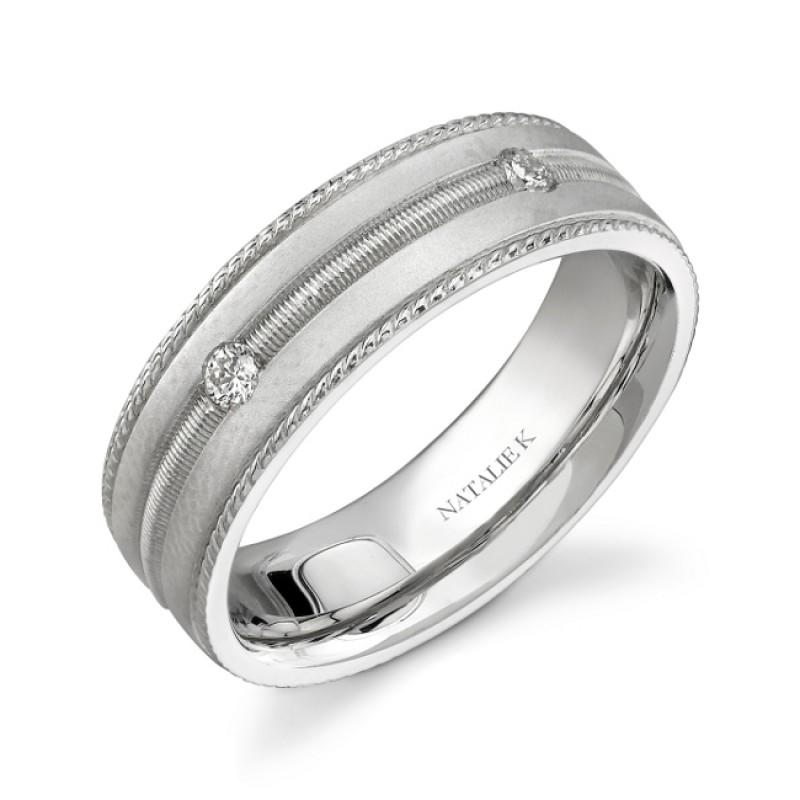 14k White Gold Five Stone Prong Diamond Men's Band - NK15513-W