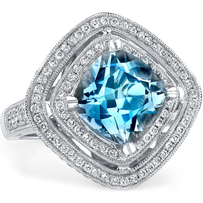 14k White Gold Aquamarine Diamond Ring NK16418AQ-W