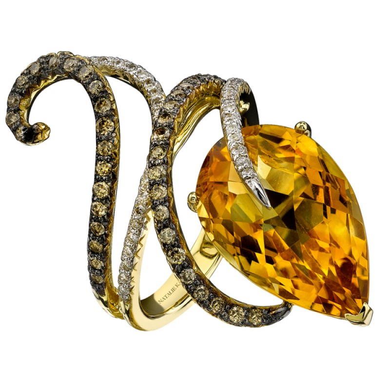 14k Yellow Gold Pear Shaped Citrine Swirl Cocktail Ring NK16653CT-Y