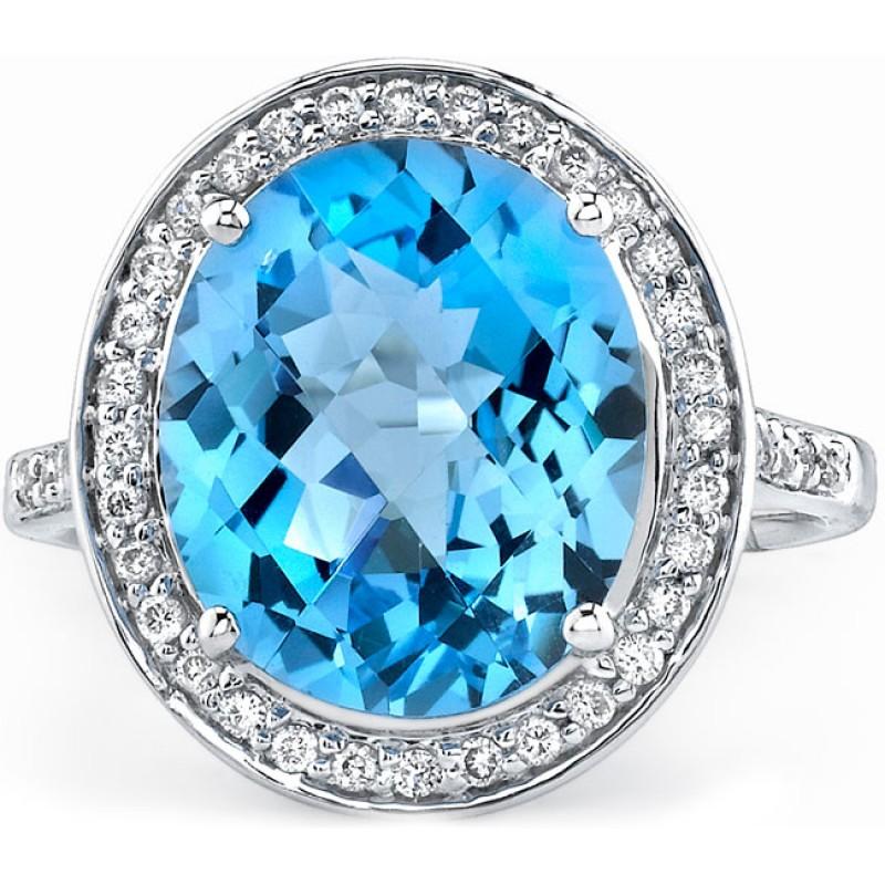 14k White Gold Classic Blue Topaz Ring NK16941BTPZ-W