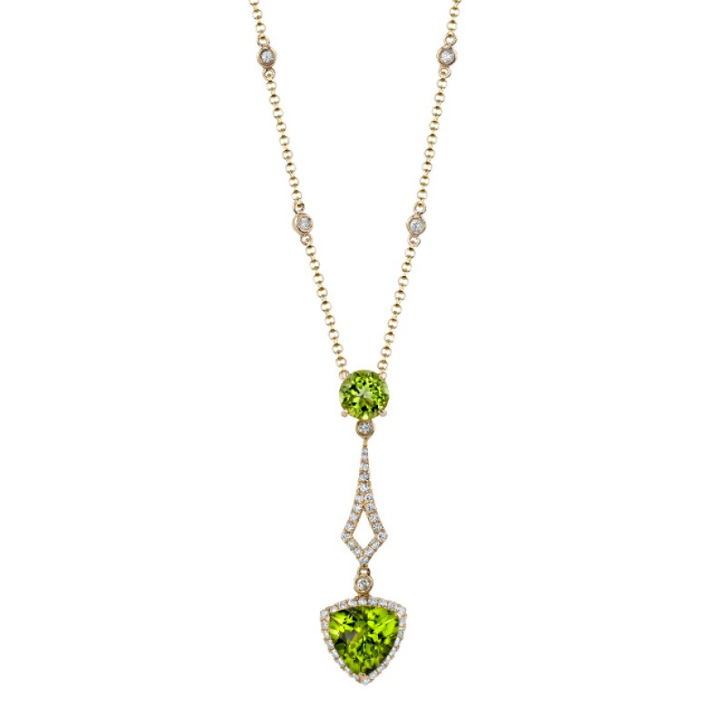 14k Yellow Gold Peridot and Diamond Drop Necklace NK17209P-Y