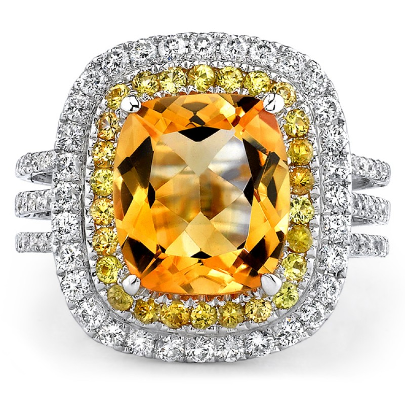 14k White Gold Citrine Double Halo Diamond Cocktail Ring - NK17214CT-W