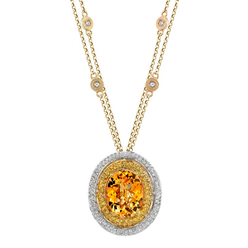 14k White Gold Diamond Double Halo Citrine Pendant NK17635CT-WY