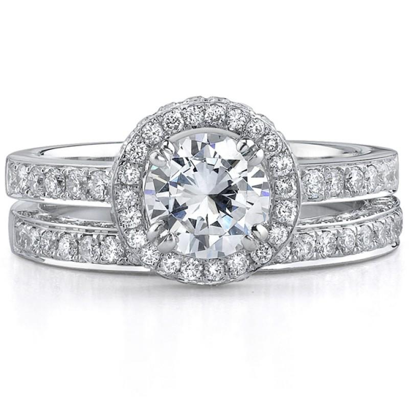 14k White Gold Elegant Diamond Halo Bridal Set - NK17706WE-W