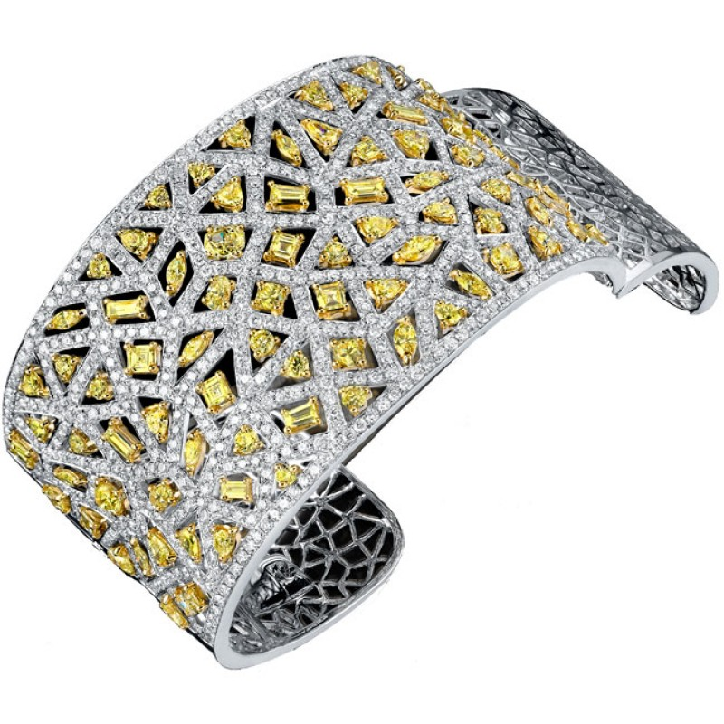 18k White and Yellow Gold Diamond Mosaic Ladies Bangle NK18052GD-WY