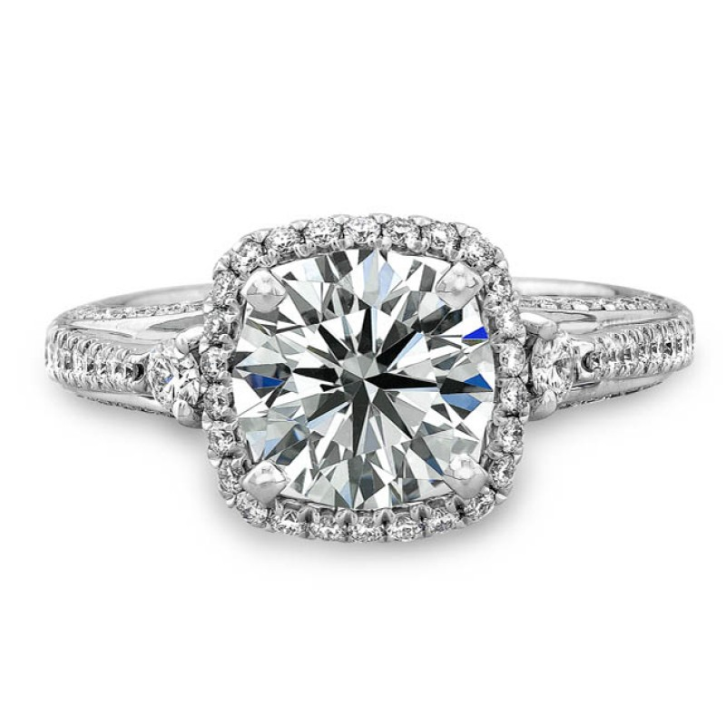 14k White Gold Diamond Halo Engagement Ring with Side Stones NK18803-W