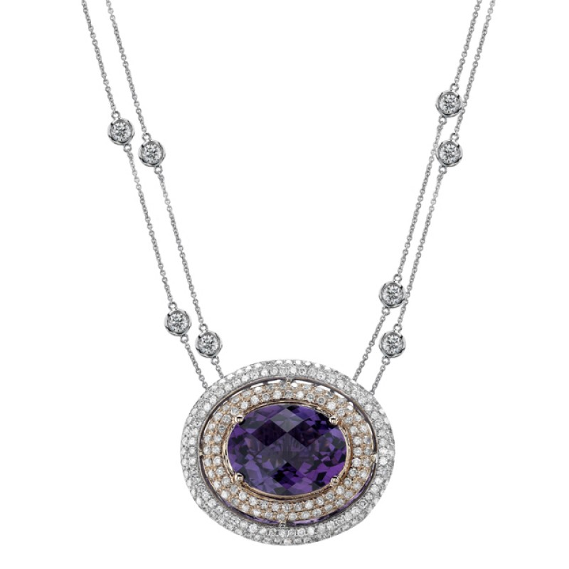 14k White and Rose Gold Amethyst and Pave Diamond Necklace NK18975AM-WR