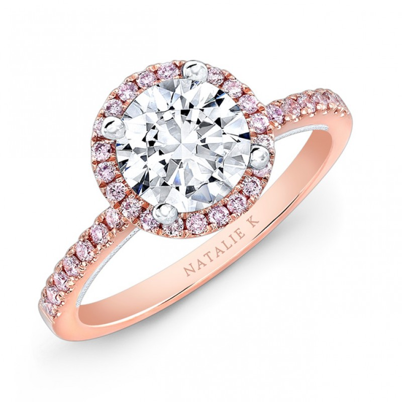 18k Rose and White Gold Pink Diamond Halo White Diamond Gallery Engagement Ring