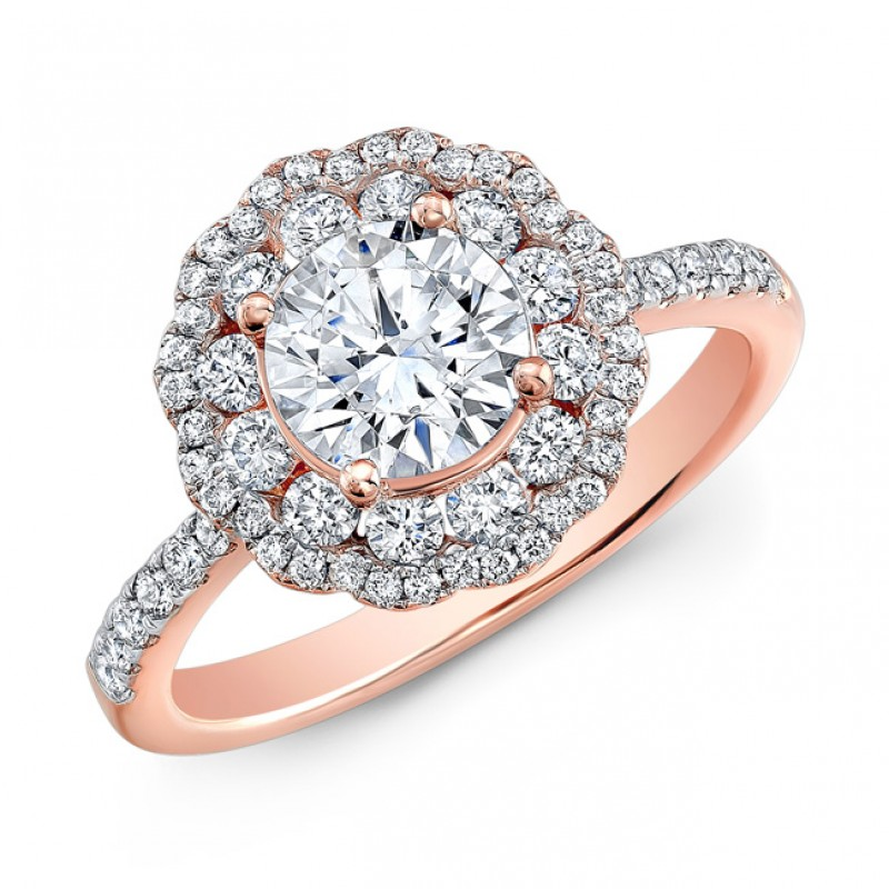 18k Rose Gold Double Halo Diamond Engagement Ring