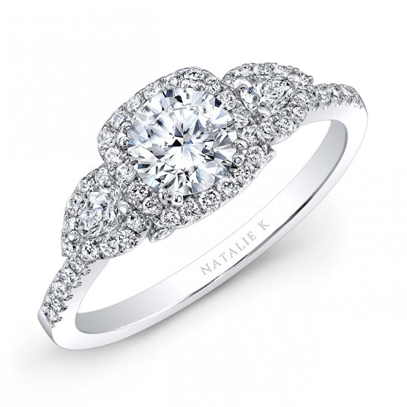 18K White Gold White Diamond Pear Shaped Side Stone Diamond Halo Engagement Ring