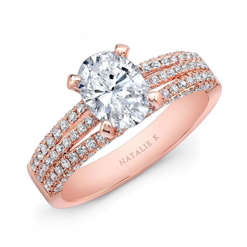 18K Rose Gold White Diamond Triple Split Shank Engagement Ring