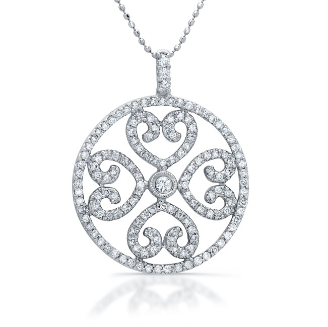 14k White Gold Diamond Heart Medallion Pendant
