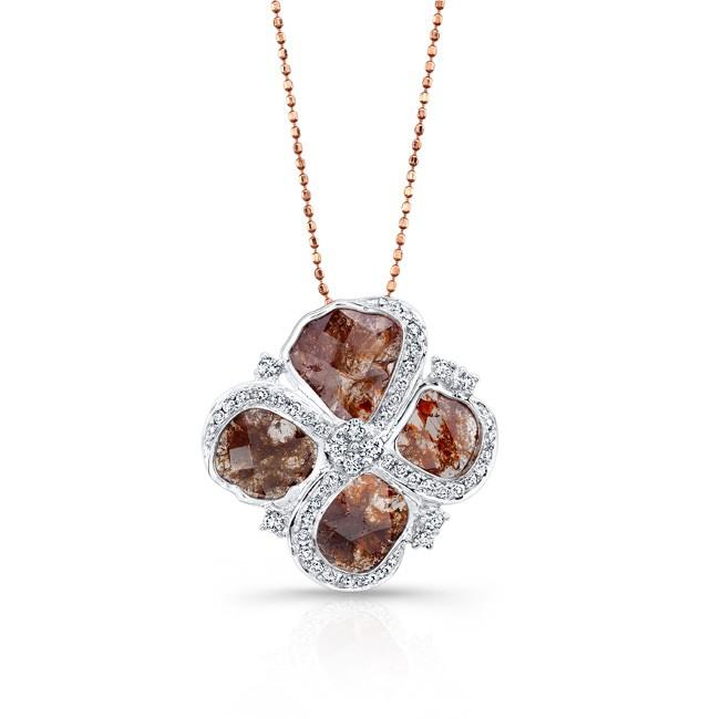 18k White Gold Pave Diamond Sliver and White Diamond Pendant