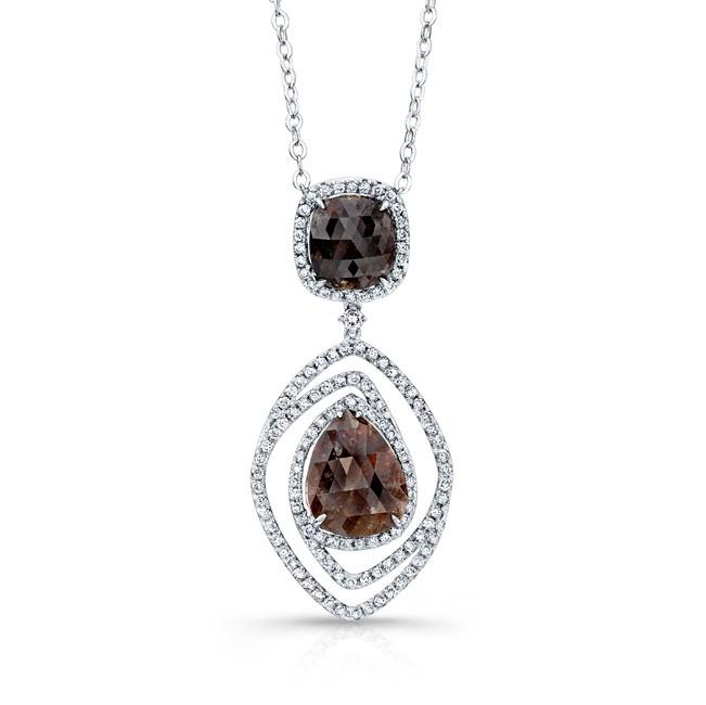 14k White Gold Rose-Cut Brown Diamond and White Diamond Swirl Pendant