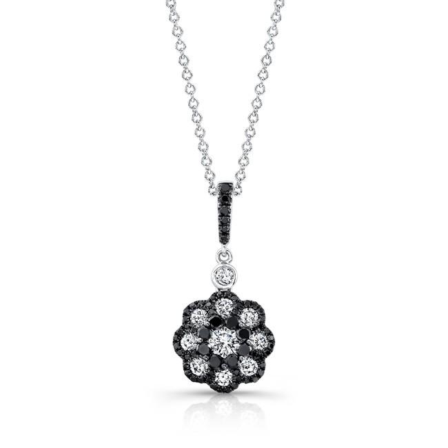 18k White and Black Gold White and Black Diamond Flower Pendant