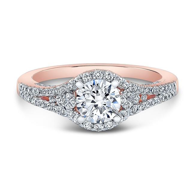 14k Rose Gold White Diamond Three Stone Split Shank Engagement Ring