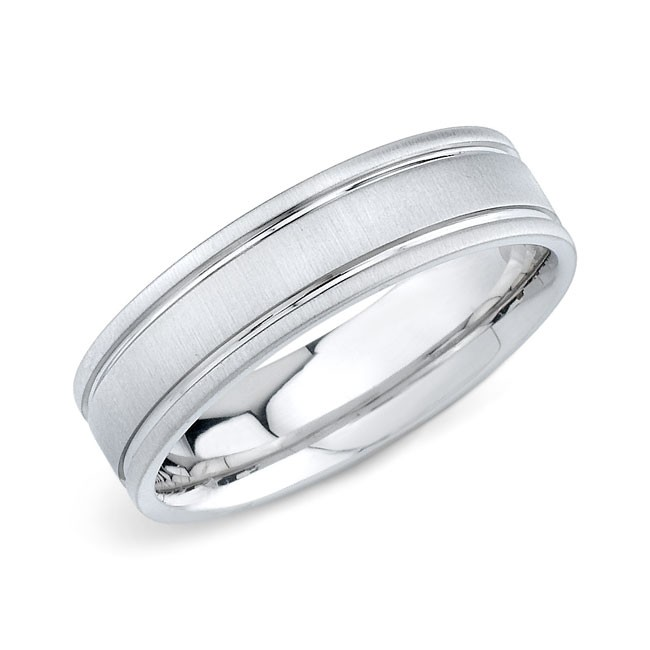 14k White Gold Mens Wedding Band Matte Finish
