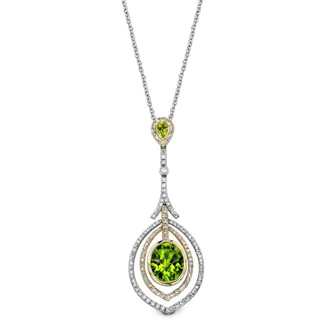 14k White and Yellow Gold Peridot Diamond Halo  Drop Necklace NK19511P-WY