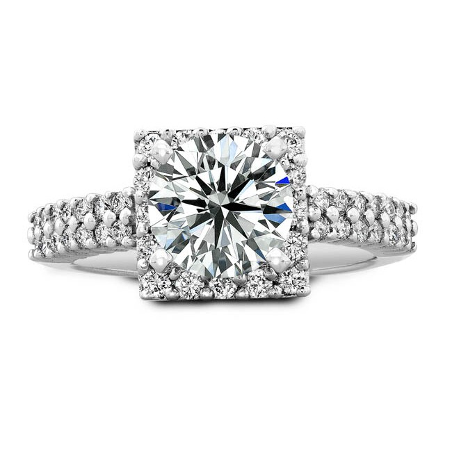 14k White Gold Round Diamond Halo Bridal Set - NK19382WE-W