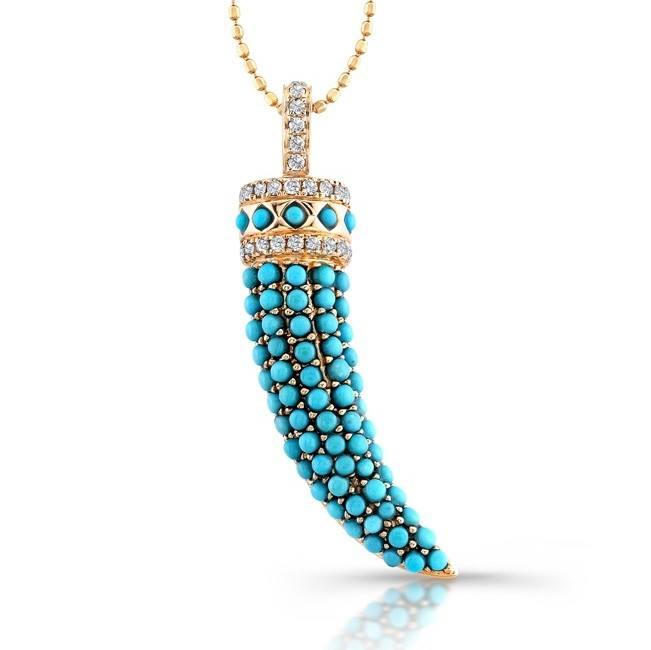 14k Rose Gold Diamond Pave Turquoise Horn Pendant