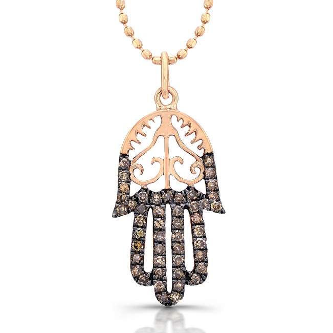 14k Rose Gold Diamond Vintage Design Hamsa Pendant