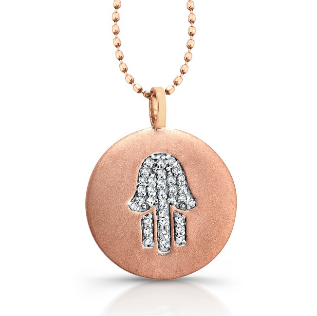 14k Rose Gold Diamond Hamsa Disk Pendant