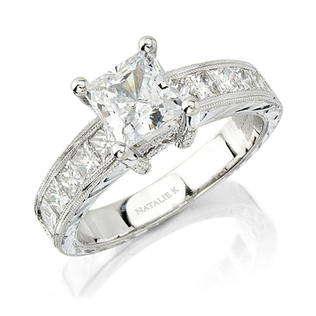 14k white gold princess cut diamond engagement ring nk10349 w - White Gold Princess Cut Wedding Rings