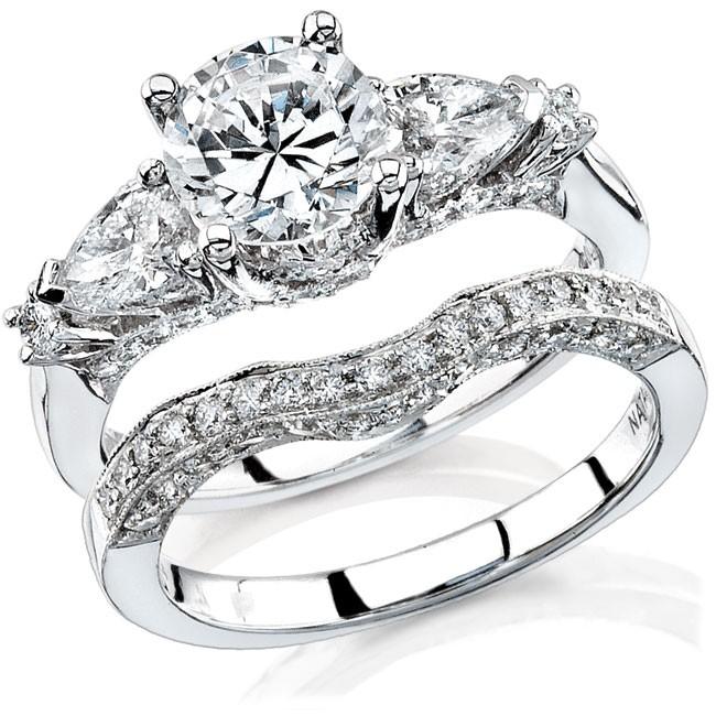 14k white gold pear shaped three stone diamond semi bridal set nk11513we w - Pear Shaped Wedding Ring Sets