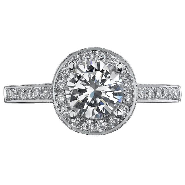 14k White Gold Elegant Halo Diamond Engagement Ring NK11520-W
