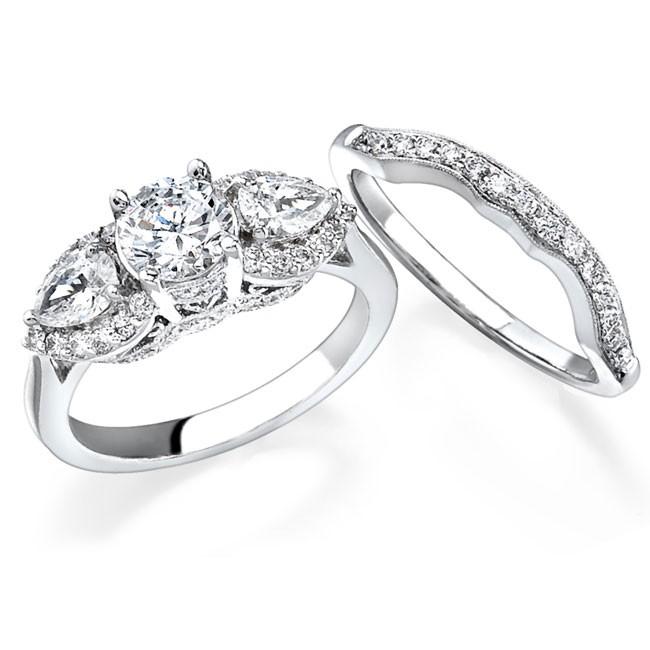 14k White Gold Pear Shaped Diamond Three Stone Bridal Set NK11871WE W