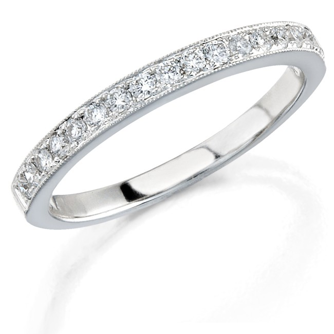 14k White Gold Pave Classic Ladies Diamond Band NK12065WED-W