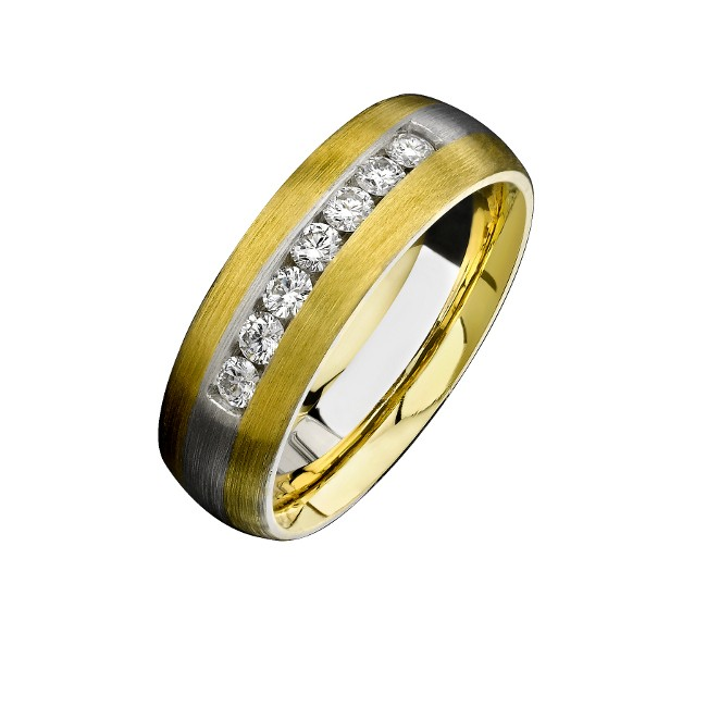 14k White Gold Brushed Channel Diamond Men's Band - NK13852-Y